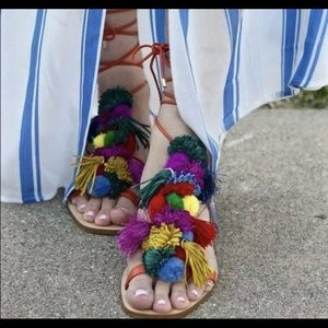 Zara Pom Pom sandals gladiators Sz 37 7